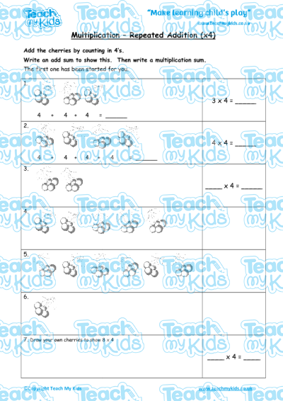 Addition Worksheets multiplication as repeated addition worksheets : Multiplication - Repeated Addition (x4) | Teach My Kids