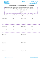 Multiplication - Written Methods - Partitioning