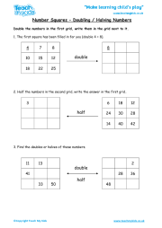 Number Squares - Doubling / Halving Numbers