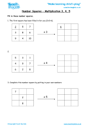 Number Squares - Multiplication 3, 4, 5