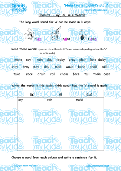 Phonics - ay, ai, a-e Words | Teach My Kids