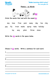 Phonics - ay Words