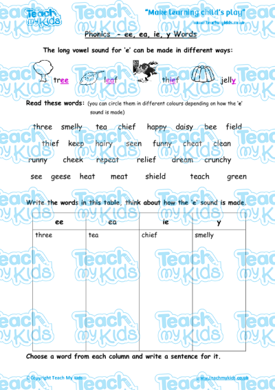 Phonics - ee, ea, ie, y Words | Teach My Kids