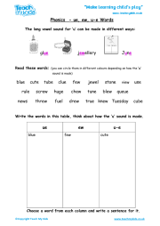 Ew Words Worksheet Phonics - ue, ew , u-e words teach my kids