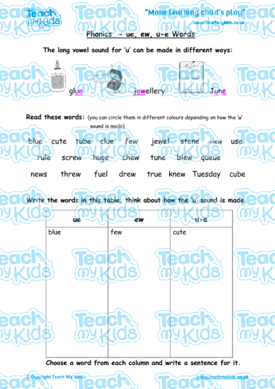Phonics - ue, ew, u-e Words | Teach My Kids