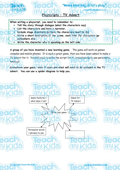 Playscripts - TV Adverts | Teach My Kids