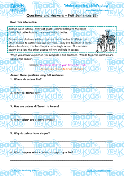Questions and Answers - Full Sentences (2) | Teach My Kids