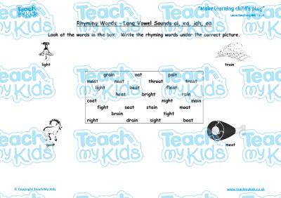 Rhyming Words - Long Vowel Sounds, ai, ea, igh, oa   Teach My Kids