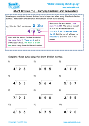 Short Division tu - Carrying Numbers and Remainders
