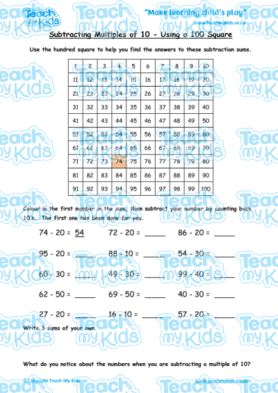 subtracting multiples of 10 using a hundred square teach my kids. Black Bedroom Furniture Sets. Home Design Ideas