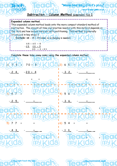 Subtraction - Expanded Column Method 1 | Teach My Kids