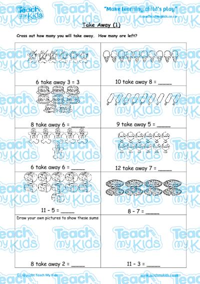 Common Worksheets take away worksheet : Take Away (1) | Teach My Kids