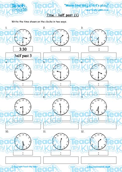 Time - half past (1) | Teach My Kids