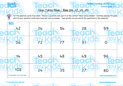 Times Tables Bingo - Easy (x6, x7, x8, x9) | Teach My Kids