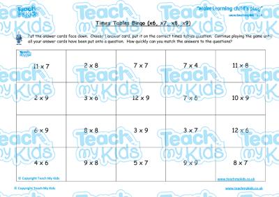 times tables bingo hard x6 x7 x8 x9 teach my kids. Black Bedroom Furniture Sets. Home Design Ideas