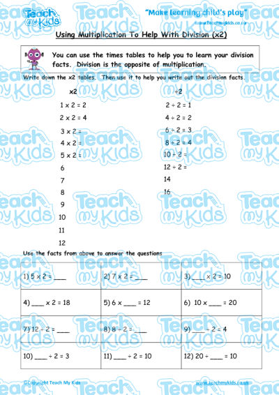 using-multiplication-to-help-with-division-x2_400x X Timetable Worksheets on about day activity,
