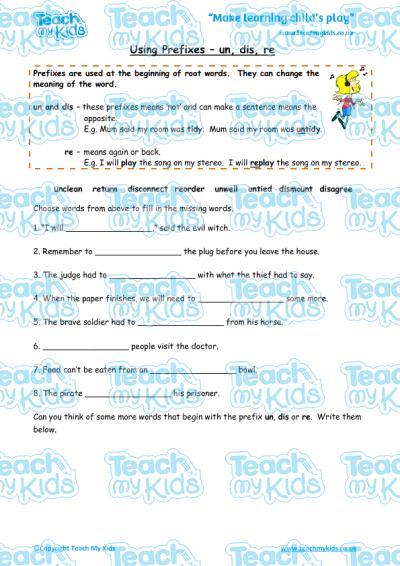 list of prefix un text ks1