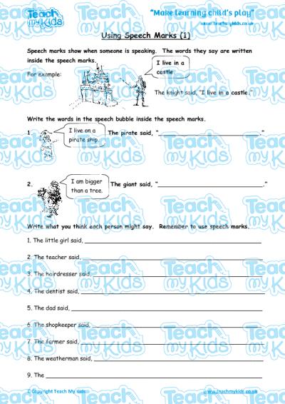 using speech marks 1 teach my kids. Black Bedroom Furniture Sets. Home Design Ideas