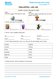 Using suffixes – cian, sion