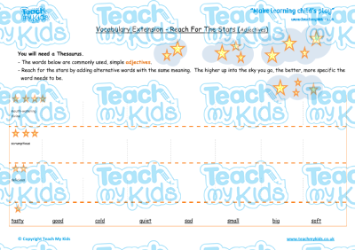 Vocabulary Extension - Reach for the Stars (Adjectives) | Teach My ...