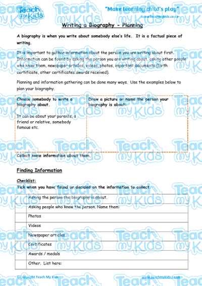 writing a biography  planning  teach my kids