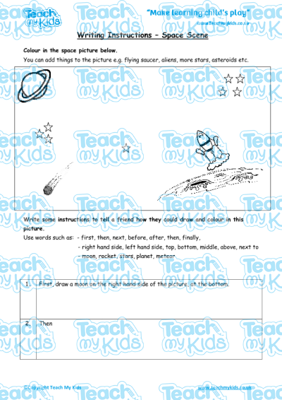 Writing Instructions Space Scene Teach My Kids