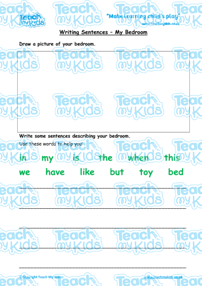 writing sentences my bedroom teach my kids. Black Bedroom Furniture Sets. Home Design Ideas