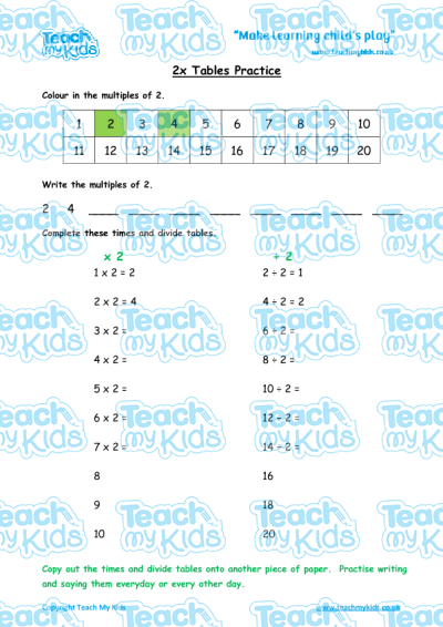 times tables practise x2 teach my kids. Black Bedroom Furniture Sets. Home Design Ideas