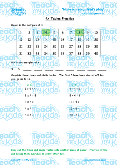 times tables practise x4 teach my kids. Black Bedroom Furniture Sets. Home Design Ideas