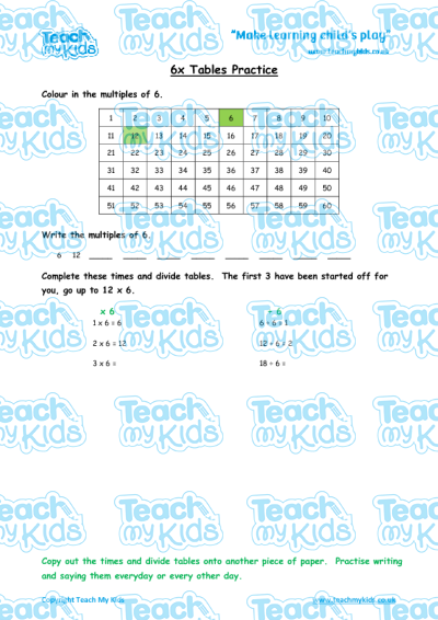 times tables practise x6 teach my kids. Black Bedroom Furniture Sets. Home Design Ideas